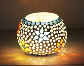 CraftJunction Handmade Mosaic Tealight Glass 1 - Cup Tealight Holder(Multicolor, Pack of 1)