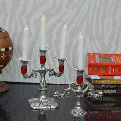 eCraftIndia Combo of Red Candle Stands Aluminium 4 - Cup Candle Holder Set