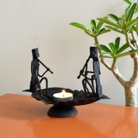 Chinhhari Arts boat candle stand Iron 1 - Cup Candle Holder(Black, Pack of 1)