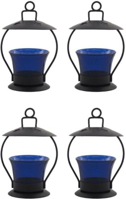 Craftatoz Iron Candle Holder Set(Blue, Pack of 4)
