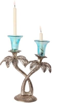 Excellententerprises Khajoor Tree Cast Iron, Glass 2 - Cup Candle Holder Set