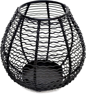 The Craftree Curved Wire Iron Tealight Holder(Black, Pack of 1)
