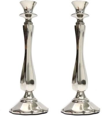Indian Reverie Aluminium, Glass Candle Holder Set