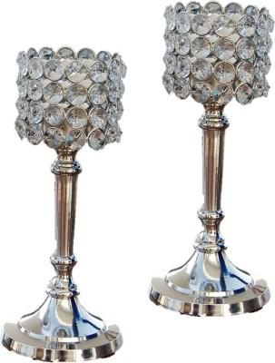 Being Nawab Stunning Masterpiece Crystal, Aluminium 2 - Cup Tealight Holder Set