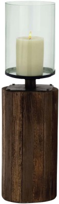 Kala Bhawan 21x7 Reclaimed Wood Clear Glass Hurricane Glass 1 - Cup Candle Holder