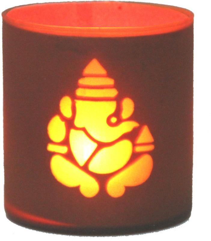 Divine Twinkler Glass Tealight Holder(Red, Pack of 1)