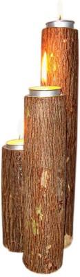 Nafees Wooden Candle Holder Set
