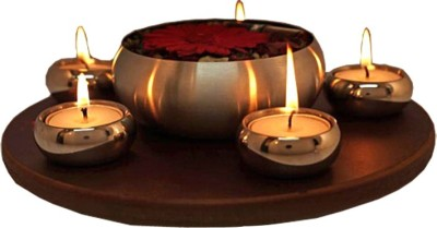 Exciting Lives Light and Aroma Set Wooden, Steel 5 - Cup Tealight Holder