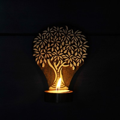 ExclusiveLane Tree Of Life Wooden Engraved Table Cum Wall Wooden 1 - Cup Tealight Holder