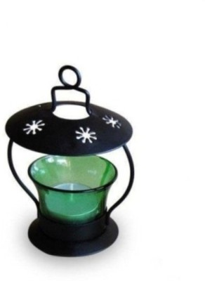Onlineshoppee Glass, Iron Tealight Holder(Green, Pack of 1)