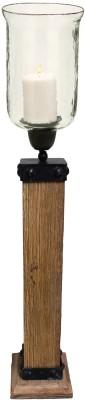 Kala Bhawan Natural Wood Hurricane 26x7 Glass 1 - Cup Candle Holder