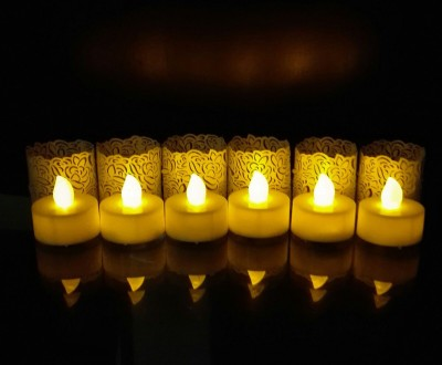 WhitePavo Flickering LED TeaLight - Yellow Flame with Pearl-White Rose Designer Paper Votive Wraps and Candle