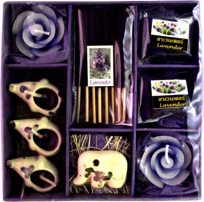 WebKreature Fancy Candles of Lavender Flower with 8 agarbatti. Candle