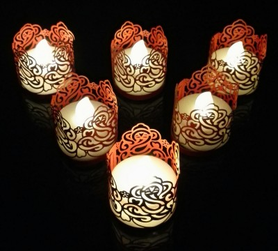 WhitePavo Flickering LED TeaLight - White Flame with Red Ganesha Designer Paper Votive Wraps and Candle