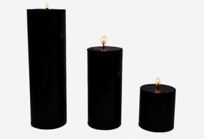 Indigo Creatives Classy Black 3 Nos Large Wax Gift Set Candle Candle