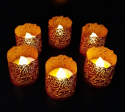 WhitePavo Flickering LED TeaLight - Yellow Flame with Red Rose Designer Paper Votive Wraps and Candle
