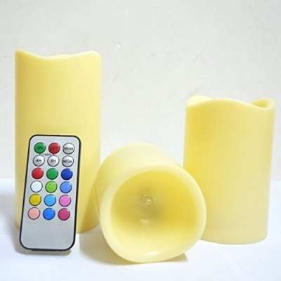 Nashware Vanilla Scented Remote Controlled Wax Flameless Color Changing Candles with Timer Set of 3 sizes Candle