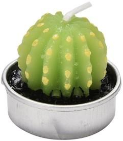 Futaba Mini Cactus Tea Light-B Candle(Green, Silver, Pack of 1)