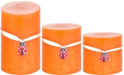Craftghar Set Of 3 Orange Scented (6 Inch, 4 Inch, 3 Inch) Candle