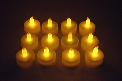 Gran 12 Pcs Flameless LED T-lite Candles Candle(White, Pack of 12)