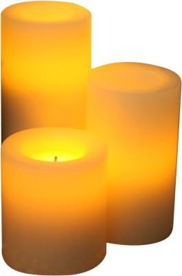 Expressme2u Flameless LED Candle(Beige, Pack of 3)