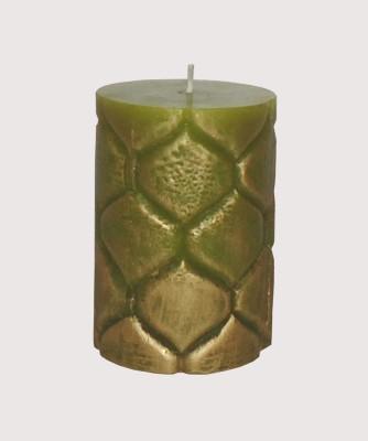 GGI Designer Embossed Pillar Candle Green 2.75 x 4 Candle