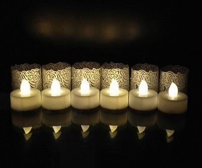WhitePavo Flickering LED TeaLight - White Flame with Pearl White Rose Designer Paper Votive Wraps and Candle