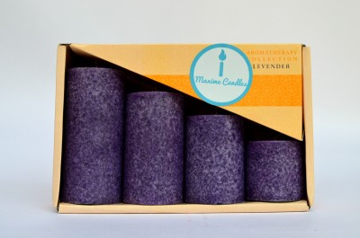 Maxime Lavender Scented Marble Pillar Set Candle