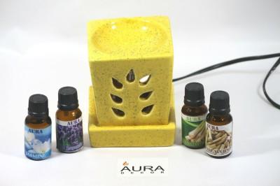 AuraCandles AuraDecor Electric Aroma Oil Burner Yellow Colour Rectangular Candle