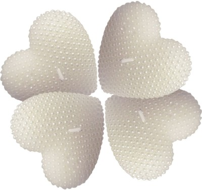 Bemoree Decorative Heart White Set of 4 Candle