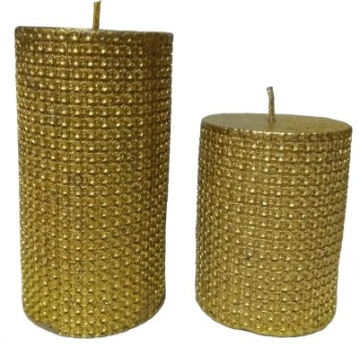 THE CANDLE DUX GOLD DOTS DESIGNER COMBO OF 2 Candle