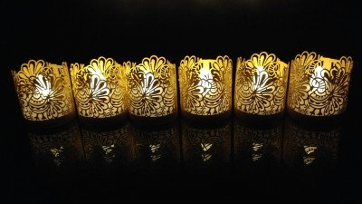 WhitePavo Flickering LED TeaLight - White Flame with Golden Yellow Peacock Designer Paper Votive Wraps and Candle
