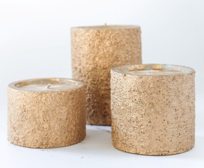 The White Window Textured Golden Pillar Candles Candle