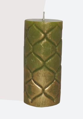 GGI Designer Embossed Pillar Candle Green 2.75 x 6 Candle