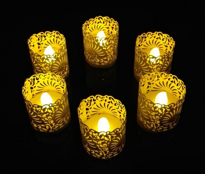 WhitePavo Flickering LED TeaLight - Yellow Flame with Ivory Shell Designer Paper Votive Wraps and Candle