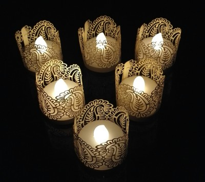 WhitePavo Flickering LED TeaLight - White Flame with Beige Mango Designer Paper Votive Wraps and Candle