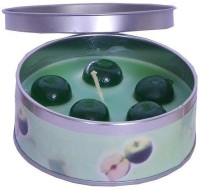Indigo Creatives Green Apple scented perfume retaining reusable metal box diwali christmas candle Candle(Green, Pack of 1)
