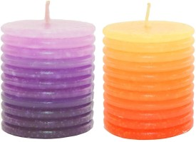 Skycandle.in 3 inch ring pillar Candle(Multicolor, Pack of 2)