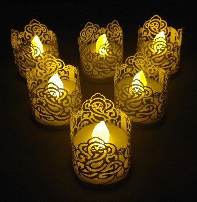 WhitePavo Flickering LED TeaLight - Yellow Flame with Golden Yellow Ganesha Designer Paper Votive Wraps and Candle