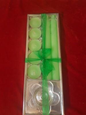 POOJA GHAR SET OF 7 GREEN Candle