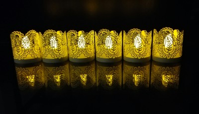 WhitePavo Flickering LED TeaLight - Yellow Flame with Beige Mango Designer Paper Votive Wraps and Candle