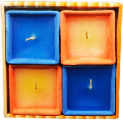 The Candle Shop Four Square Orange And Blue Candle