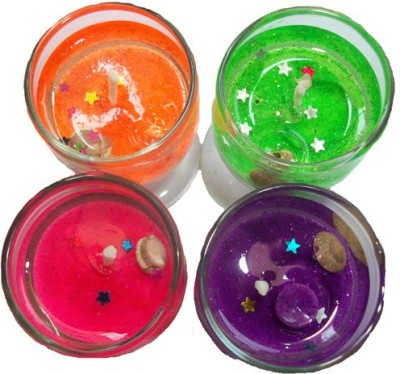 Y & J Set of 4 Fragrances in Glass Candle(Multicolor, Pack of 4)
