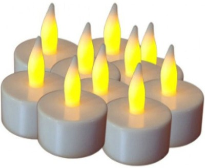 Rasmy Candles Rasmy Candle Led Tealight pac of 10 Candle(Yellow, Pack of 10)