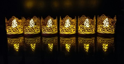 WhitePavo Flickering LED TeaLight - Yellow Flame with Red Ganesha Designer Paper Votive Wraps and Candle