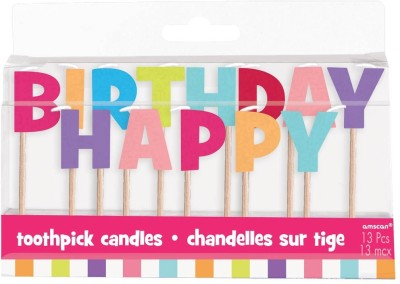 Amscan International Happy Birthday Girl Tooth Pick Candle