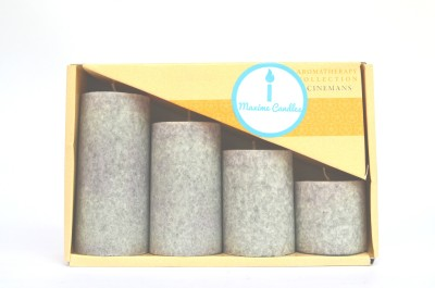 Maxime Cinnamon Scented Marble Pillar Set Candle