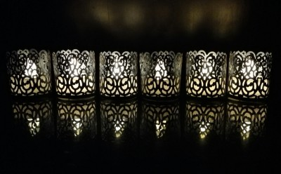 WhitePavo Flickering LED TeaLight - White Flame with Grey Climbers Designer Paper Votive Wraps and Candle