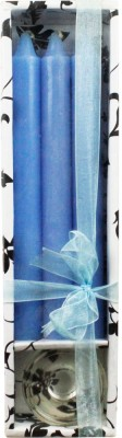 The Candle Shop Blue Pillar Dinner Taper Candle