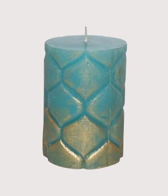 GGI Designer Embossed Pillar Candle Turq 2.75 x 4 Candle
